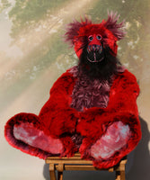 Melchior is a magnificent, richly colourful one of a kind, artist teddy bear in fabulous faux fur & gorgeous mohair by Barbara-Ann Bears Melchior stands 20 inches (51 cm) tall and is 16 inches (41 cm) sitting, yes, he's quite a big teddy bear!  Melchior is a fabulous teddy bear, made from the softest rich red faux fur
