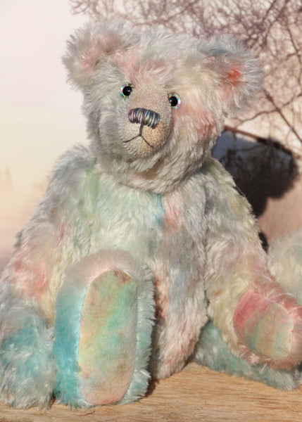 Moonlight Serenade, a sweet and romantic, one of a kind, traditional, artist teddy bear in hand-dyed mohair by Barbara Ann Bears, she stands 15 inches (38cm) tall and is 10.5 inches (26cm) sitting. Moonlight Serenade is made from a slightly wavy mohair, that Barbara has dyed in turquoise, pink, lilac and pistachio