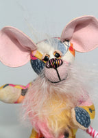 Moussorgsky is a comical, sweet and dinky, one of a kind, artist mouse with impressive ears in designer fabric & mohair by Barbara-Ann Bears. Moussorgsky stands just 5 inches (12.5 cm) tall and is 4 inches (10 cm) sitting, his tail is 5 inches (12.5 cm) long. He is mostly made from a wonderful printed cotton fabric