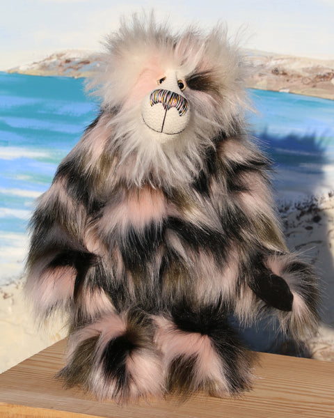 Nigel Finetootle is a very shaggy, gently colourful, one of a kind, artist teddy bear in gorgeous faux fur & fluffy mohair by Barbara-Ann Bears  Nigel Finetootle is quite a large and heavy teddy bear, he stands 18.5 inches (47 cm) tall and is 14.5 inches (37 cm) sitting.