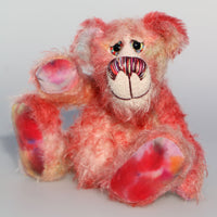 Nuggins is a joyous celebration of Yuletide happiness, a one of a kind, hand dyed mohair artist bear by Barbara-Ann Bears