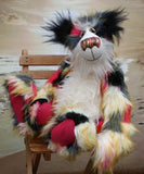 Patches Malone is a magnificent, colourful one of a kind, artist teddy bear in fabulous faux fur and gorgeous mohair by Barbara-Ann Bears, Patches Malone stands 22 inches (56 cm) tall and is 15.5 inches (39 cm) sitting.