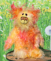 Peggy Smiles is a joyous celebration of colourful happiness, a one of a kind, hand dyed mohair artist bear by Barbara-Ann Bears. Peggy Smiles stands 9 inches( 23 cm) tall and is 7 inches (18 cm) sitting.