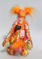 Peri-Peri is a kooky, funky, lanky and funny one of a kind artist bear in printed cotton, mohair and faux fur by Barbara Ann Bears Peri-Peri stands 15 inches( 38 cm) tall and is 12 inches (30 cm) sitting. Peri-Peri is a sweet and artistic bear, he's very smart in his designer print fabric.