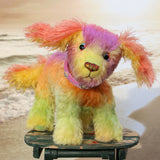 Pixie is a friendly and very well behaved, one of a kind, artist teddy dog made from beautifully coloured hand dyed mohair by Barbara-Bears