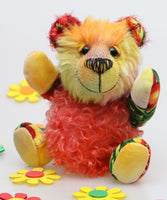 PomPom is an extremely lovable, sweet and happy one of a kind artist bear in beautiful hand dyed mohair & cotton fabric by Barbara Ann Bears, he stands just 7.5 inches (19 cm) tall and is 6 inches (15cm) sitting.