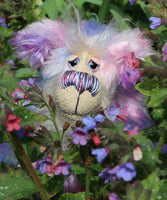 Posy is a charming, sweet and pretty, beautifully coloured, one of a kind artist bear, in hand dyed mohair by Barbara-Ann Bears  Posy stands 9 inches( 23 cm) tall and is 7 inches (20 cm) sitting.