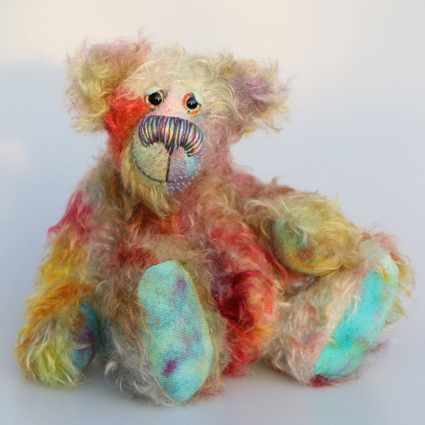 Quincy is a one of a kind, hand dyed mohair artist bear by Barbara-Ann Bears