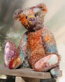 Rowan a very handsome and refined, traditional, one of a kind artist teddy bear, in muted hand dyed mohair by Barbara Ann Bears, he stands 19.5 inches (50 cm) tall and is 14.5 inches (37 cm) sitting. Rowan is a beautiful traditional bear made from distressed hand dyed mohair coloured like an autumn day on the moors