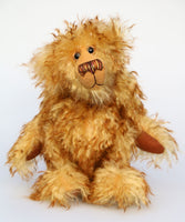 Bonzer is a sweet, slightly sad yet very friendly, one of a kind, artist teddy bear made from wonderful mohair by Barbara-Bears
