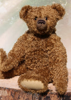 Sir Cadbury a large, elegant one of a kind, classical, traditional mohair artist teddy bear made by Barbara-Ann Bears Sir Cadbury stands 21.5 inches (55cm) tall and is 15 inches (38cm) sitting. He is a wonderful traditional teddy bear with his long snout, arms and legs and his gorgeous, brown curly mohair