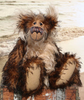 Sir Jolyon Hoots-Mon-Sniffers, a very handsome and cuddly, one of a kind, teddy bear by Barbara-Ann Bears in wonderful, fluffy tipped mohair. Sir Jolyon Hoots-Mon-Sniffers stands 14 inches(35.5 cm) tall and is 11 inches (29 cm) sitting.