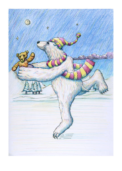 The Skating Bear. A beautiful polar bear skates across a frozen lake bringing you a teddy bear
