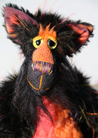 Spooky Lucas is very friendly, if fiendishly spooky, one of a kind artist cat in hand-dyed silk, viscose and faux fur by Barbara Ann Bears  Spooky Lucas stands 12.5 inches( 31 cm) tall and is 11 inches (27 cm) sitting, his curly tail would be about 13 inches (33 cm) long if it could be straightened out