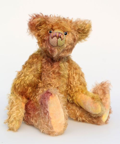 Spudnutz is a very humorous and quirky, one of a kind, hand dyed mohair, artist bear by Barbara-Ann Bears