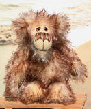 Stripy Pete is a cheerfully comical, one of a kind, mohair artist teddy bear by Barbara-Bears.
