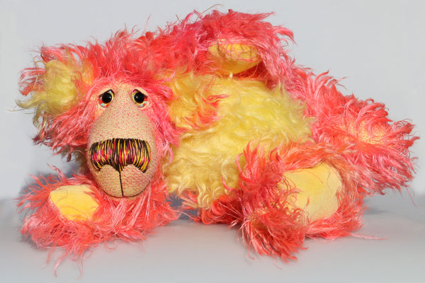 Suzy Sizzles, a comical and colourful, one of a kind, artist teddy bear in hand dyed mohair by Barbara-Ann Bears.