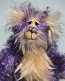 Swizzel, a one of a kind, artist bear in designer fabric and hand dyed mohair by Barbara-Ann Bears