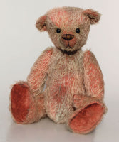 The Frederick Teddy Bear pattern makes a sweet traditional Barbara-Ann Bear about 15 inches (38cm) tall. This one in short hand dyed mohair