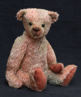 Terry Cotter is a very friendly and cuddly, traditional teddy bear made from fabulously grungy hand dyed mohair by Barbara Ann Bears  Terry Cotter is 15.5 inches (40cm) tall and is 11.5 inches (29cm) sitting.