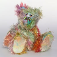 Tiddlywinks is a cheerful, sweet and gentle, beautifully coloured, one of a kind, hand dyed mohair artist bear by Barbara-Ann Bears