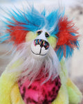 Timmy Tickle Toes is a joyous celebration of colourful happiness, a one of a kind, hand dyed mohair and faux fur artist bear by Barbara-Ann Bears  Timmy Tickle Toes stands 8 inches( 20 cm) tall and is 6 inches ( 15 cm) sitting, these measurements don't include his long fluffy white hair which adds a further 2.5 inches (6 cm).