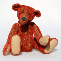 Tobias is a loveable and elegant traditional one of a kind teddy bear made in a beautiful deep red genuine vintage German mohair by Barbara Ann Bears