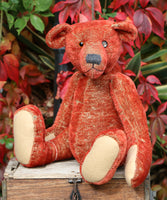 Grimble PRINTED traditional jointed mohair teddy bear sewing pattern by Barbara-Ann Bears for a traditional 17 inch/43cm teddy bear  The Grimble pattern makes a sweet, old-fashioned Barbara-Ann Bear who stands about 17 inches/43cm tall.
