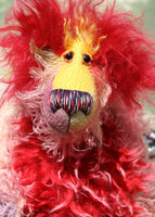 Twinkle has beautiful, sparkling, hand painted glass eyes (painted to match her colours) with hand-coloured eyelids, a stunning nose embroidered from individual threads to match her colouring and a beaming smile, her tummy and the backs of her ears are a long, soft, fluffy faux fur in red tipped with pale pink, the top of her face is a long, curly mohair hand-dyed a sunny yellow and the top of her head is a long, fluffy red mohair