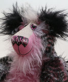 Valentine is a one of a kind, artist teddy bear by Barbara-Ann Bears in faux fur and mohair