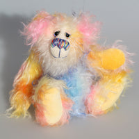 Verity is a sweet and colourful, one of a kind, hand dyed mohair artist bear by Barbara-Ann Bears