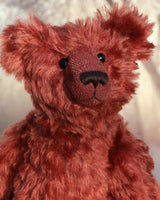 Vincent is an elegant and charming, one of a kind, traditional artist teddy bear by Barbara Ann Bears in wonderful crimson English mohair. He stands 14 inches/36cm tall and is 10.5 inches/26 cm sitting, he is like very earliest teddy bears, with longer arms, a long snout and quite bear-like, yet still cuddly.
