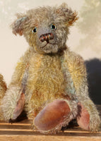 Wee Jimmy is a very handsome & subtly colourful, traditional, one of a kind artist teddy bear, in hand dyed mohair by Barbara Ann Bears, he stands 8.5 inches (21 cm) tall and is 6 inches (15 cm) sitting. He is made from a fairly short and sparse German mohair hand-dyed in natural hues green, gold, umber, blue and grey