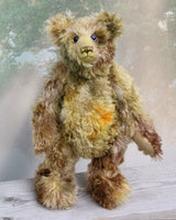 Wellington a very handsome & cuddly, traditional, one of a kind artist teddy bear, in fabulous hand dyed mohair by Barbara Ann Bears  Wellington is 16.5 inches (42cm) tall and is 12 inches (30cm) sitting.