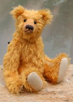 William is an elegant and charming, classical, one of a kind, traditional artist teddy bear by Barbara Ann Bears, he stands 14 inches/36cm tall and is 10 inches/26 cm sitting. William is made from a beautiful, slightly sparse, fairly long, feathery, strawberry blonde coloured German mohair