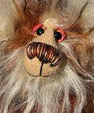 Willy Nilly, a little, one of a kind, mohair artist bear by Barbara-Ann Bears in brown and cream tipped mohair