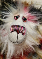 Zanzibar is a magnificent, richly colourful one of a kind, artist teddy bear in fabulous faux fur & gorgeous mohair by Barbara-Ann Bears Melchior stands 20 inches (51 cm) tall and is 16 inches (41 cm) sitting He is a fabulous artist teddy bear, made from the long shaggy mohair and faux fur
