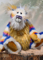 Zebedee is a very shaggy, stripy and colourful, one of a kind, artist teddy bear, he is quite a large and heavy teddy bear, he stands 18.5 inches (47 cm) tall and is 14.5 inches (37 cm) sitting.  Zebedee is made from faux fur in bands of white, magenta, sunny orange and royal blue with white mohair and  orange faux fur