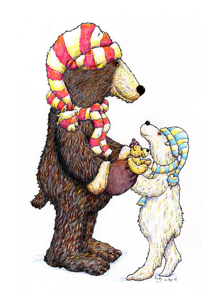 Stay Warm. A greeting card with two bears in woollen hats and scarves.
