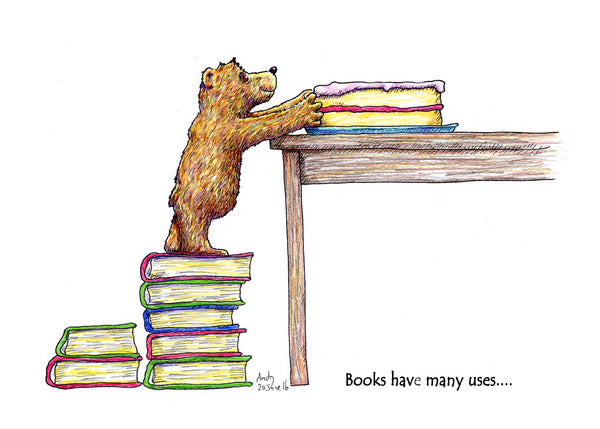 Books Have Many Uses... this greeting card shows a teddy bear using them to get to a beautiful cake