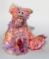 Cezanne is a gentle, elegant and delicately colourful, one of a kind, hand dyed mohair, shaggy artist bear by Barbara-Ann Bears. Cezanne stands 16.5 inches (40 cm) tall and is 12 inches (30 cm) sitting.