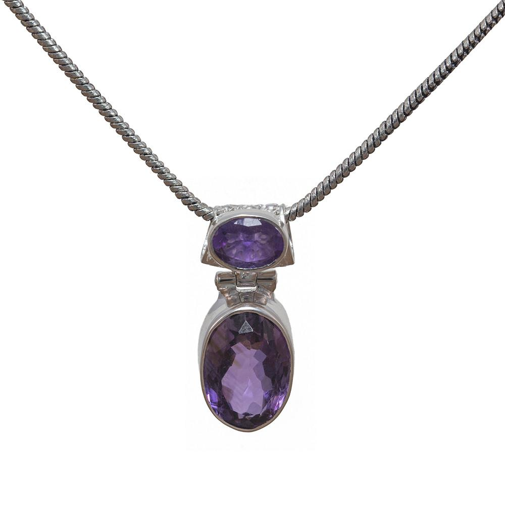 925 Sterling Silver Necklace - Handmade Gemstone Double Pendant Necklace - Sitara Collections