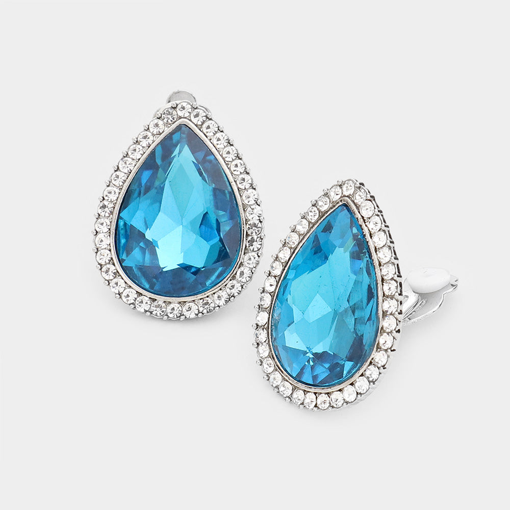 TEARDROP CRYSTAL RHINESTONE PAVE CLIP ON EARRINGS - AQUA