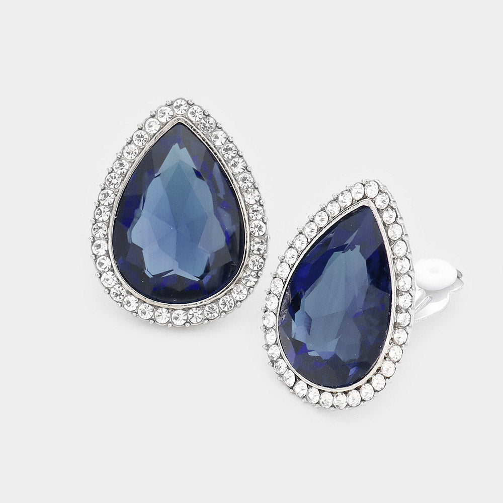 TEARDROP CRYSTAL RHINESTONE PAVE CLIP ON EARRINGS - MONTANA BLUE