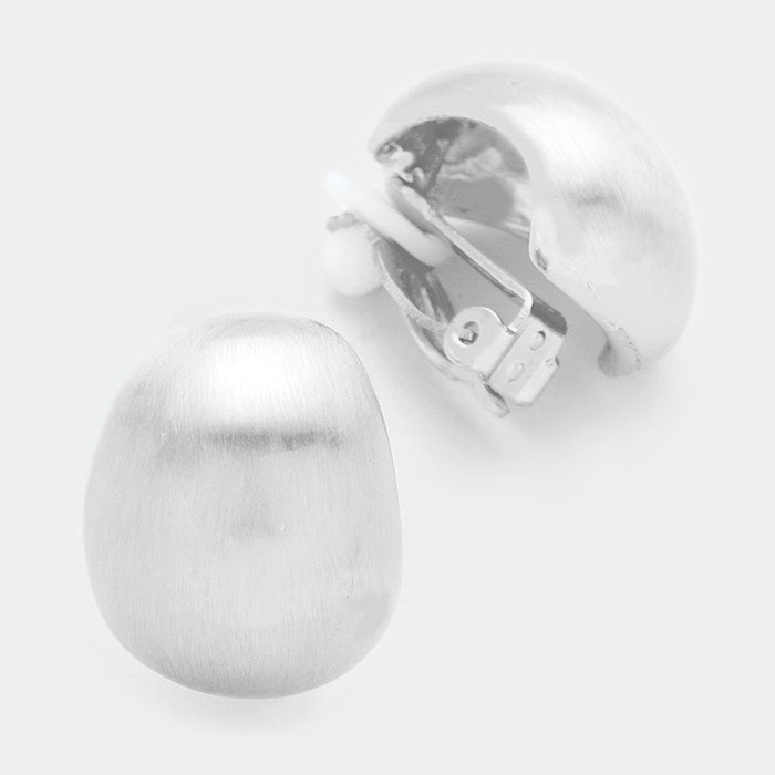 BRUSHED METAL OVAL DOME CLIP ON EARRINGS