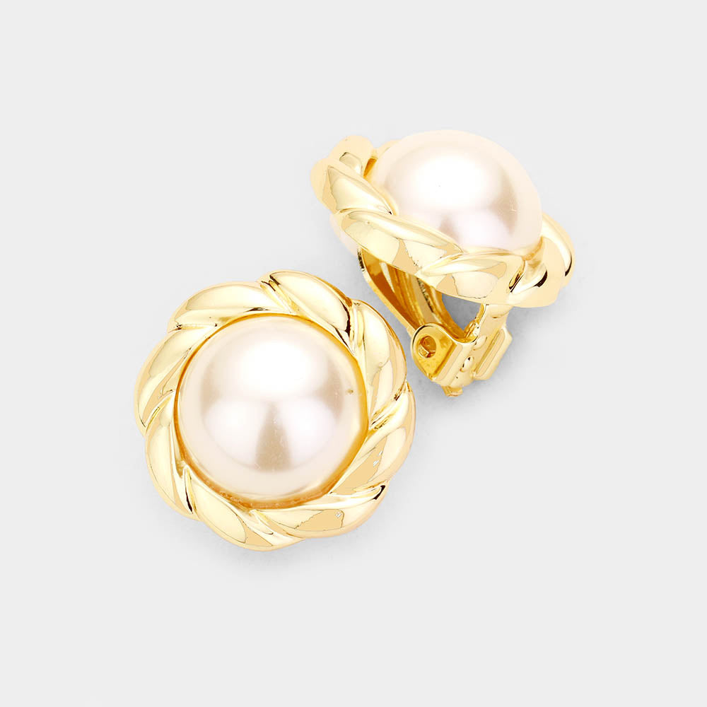 Pearl Metal Clip On Earrings