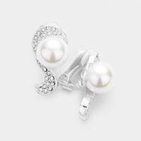 Pearl Rhinetstone Pave Clip on Earrings