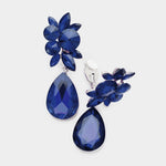 FLORAL TEARDROP CRYSTAL CLIP ON EARRINGS