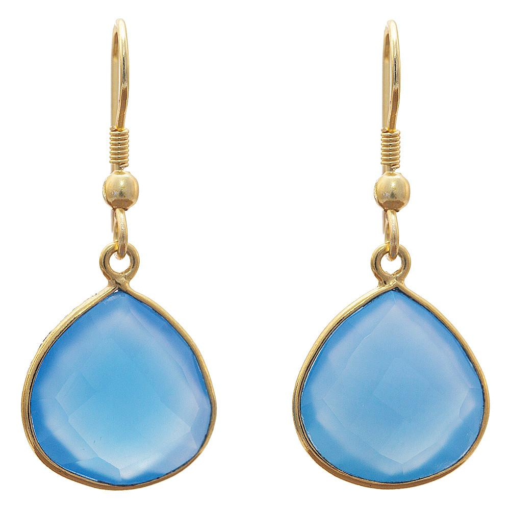 Gold-plated Earrings -  Blue Chalcedony Handmade Earrings - Sitara Collections
