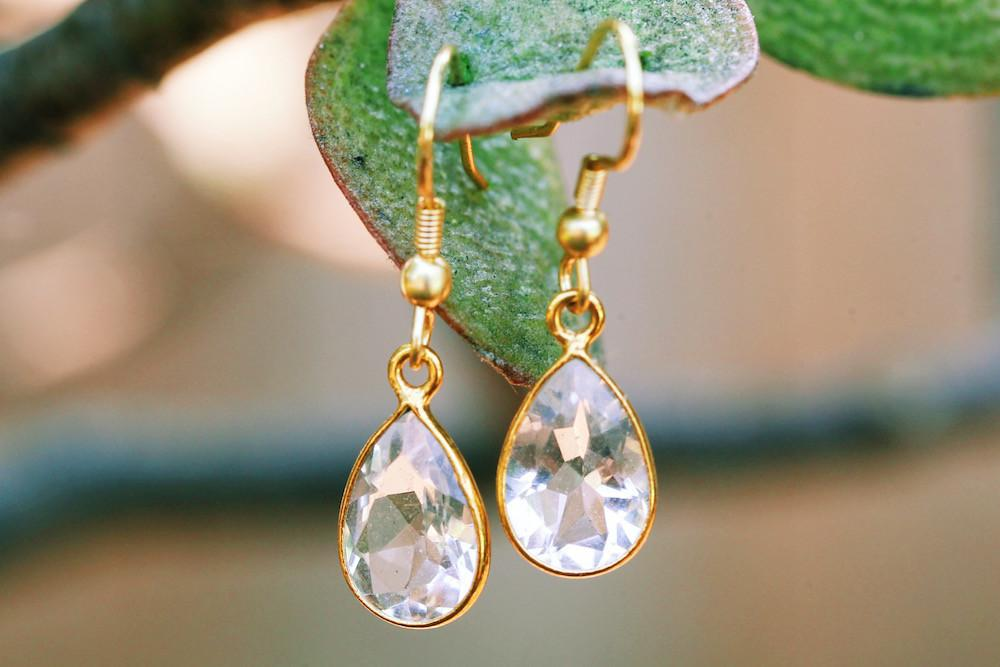 Gold-plated Earrings - Faceted Gemstone Handmade Earrings - Sitara Collections